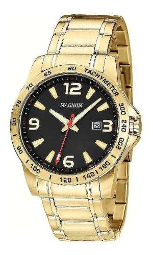 Relógio Dourado Masculino Magnum MA32961U Aço Ouro
