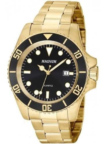 Relógio Masculino Magnum Dourado Aço Ma33068u Original