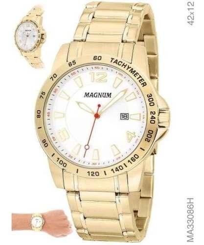 Relógio Dourado Masculino Magnum Ma33086h Branco Ouro Original