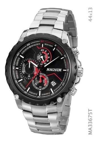 Relógio Masculino Original Prata Magnum Ma33675t Calendario