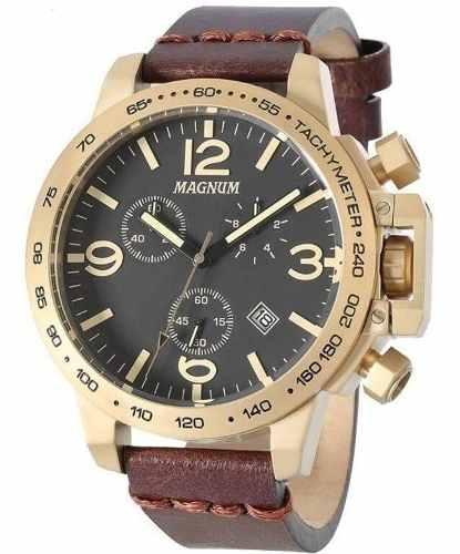 Relógio Magnum Masculino Dourado Couro Ma34147p Original