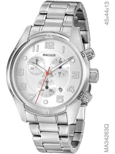 Relógio Masculino Original Analógico Prata Magnum Ma34263q