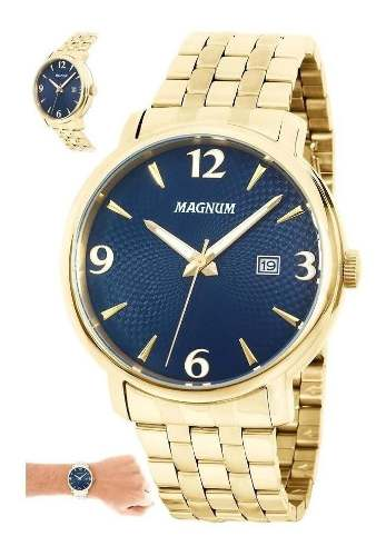 Relógio Masculino Ouro Magnum Ma34594a Casual Dourado