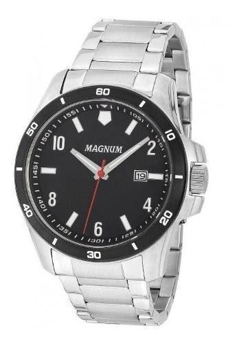 Relógio Masculino Prova D Água Original Magnum Ma35039t Prata