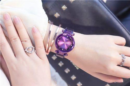 Relógio Feminino Céu Estrelado Pulseira Magnética Elegante