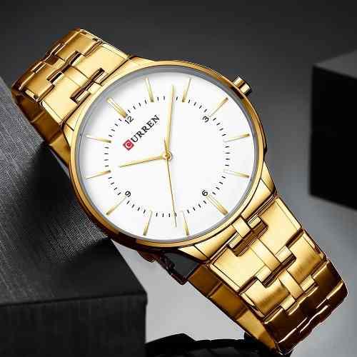 Relógio Dourado Prata Masculino Curren Luxo - Modelo 8321