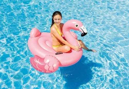 Boia Bote Flamingo Inflável Grande Para Piscina 142cm Intex