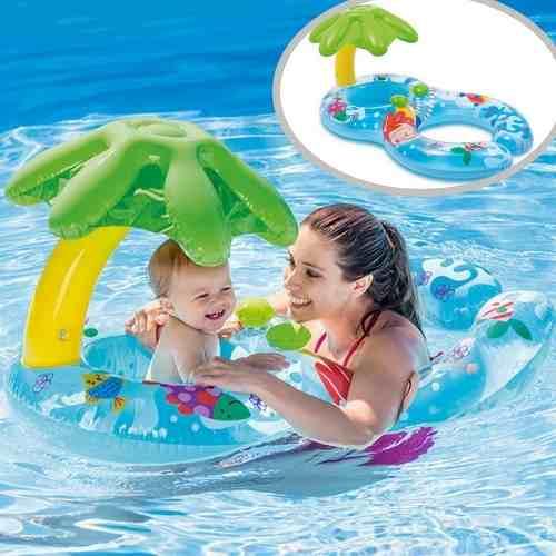 Boia Para Bebe Piscina Infantil Com Assento E Cobertura