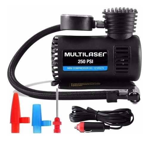 Mini Compressor De Ar Multilaser Au601 12v 3 Adaptadores
