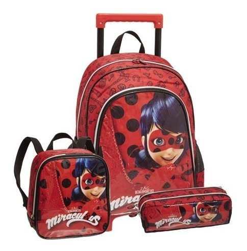 Kit Escolar Miraculous Mochila Ladybug + Estojo E Lancheira Promoção