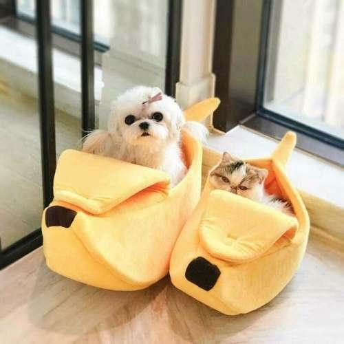 Cama Pet Caminha para Cachorro Gato Banana Casinha Toca Cão