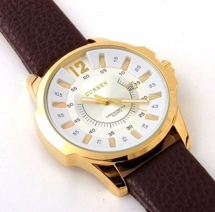 Relógio Curren 8123 Masculino Pulseira De Couro