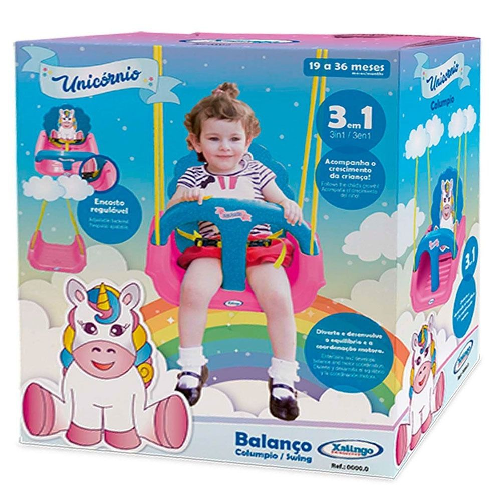 Balanço Unicórnio Infantil Com Encosto 09298 - Xalingo