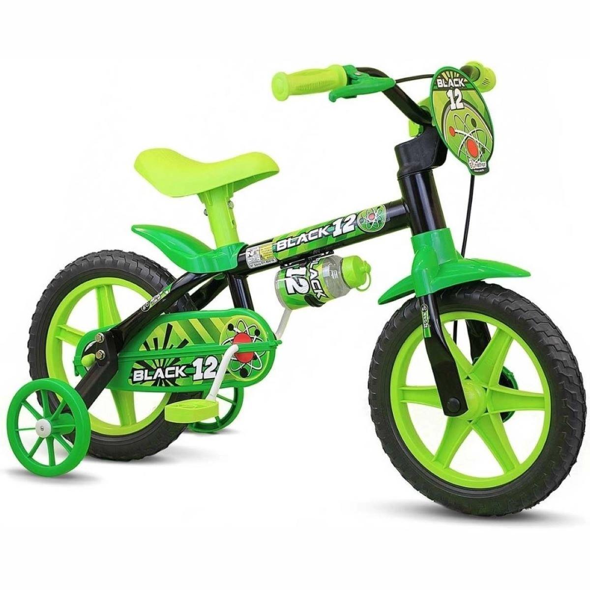 Bicicleta Infantil Nathor Aro 12 Menino Black De 2 A 5 Anos