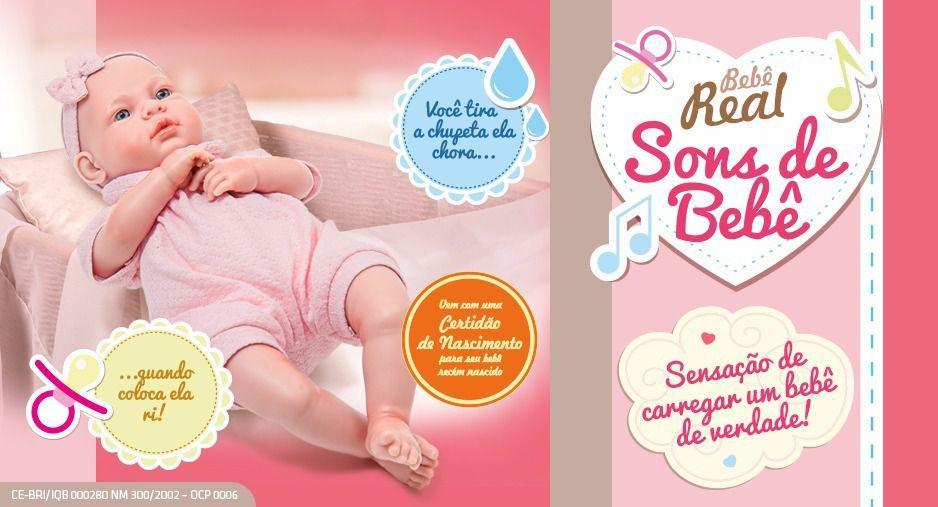 Boneca Bebê Real - Sons De Bebê + Certidão - Roma Brinquedos