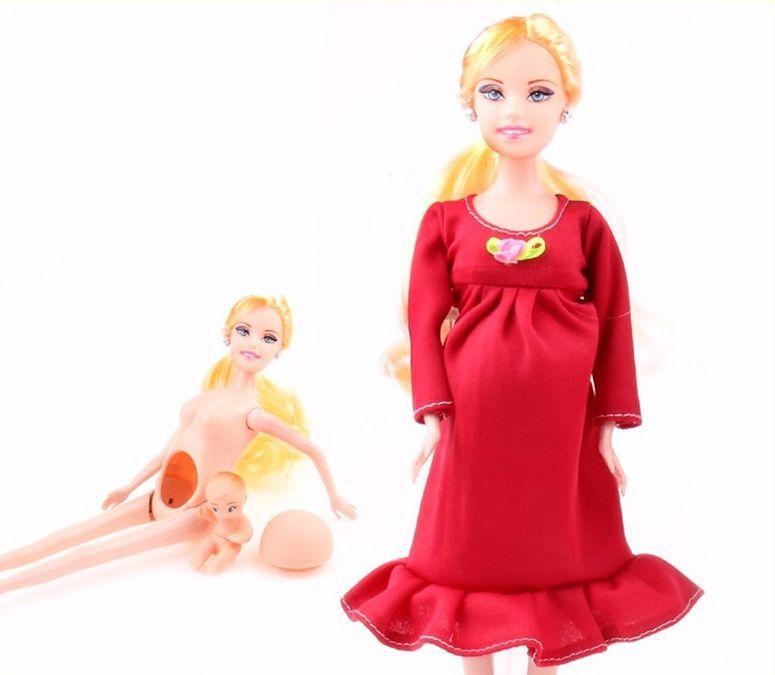 Boneca Gravida E Bebê Filhinha Loira Vestido Vermelho