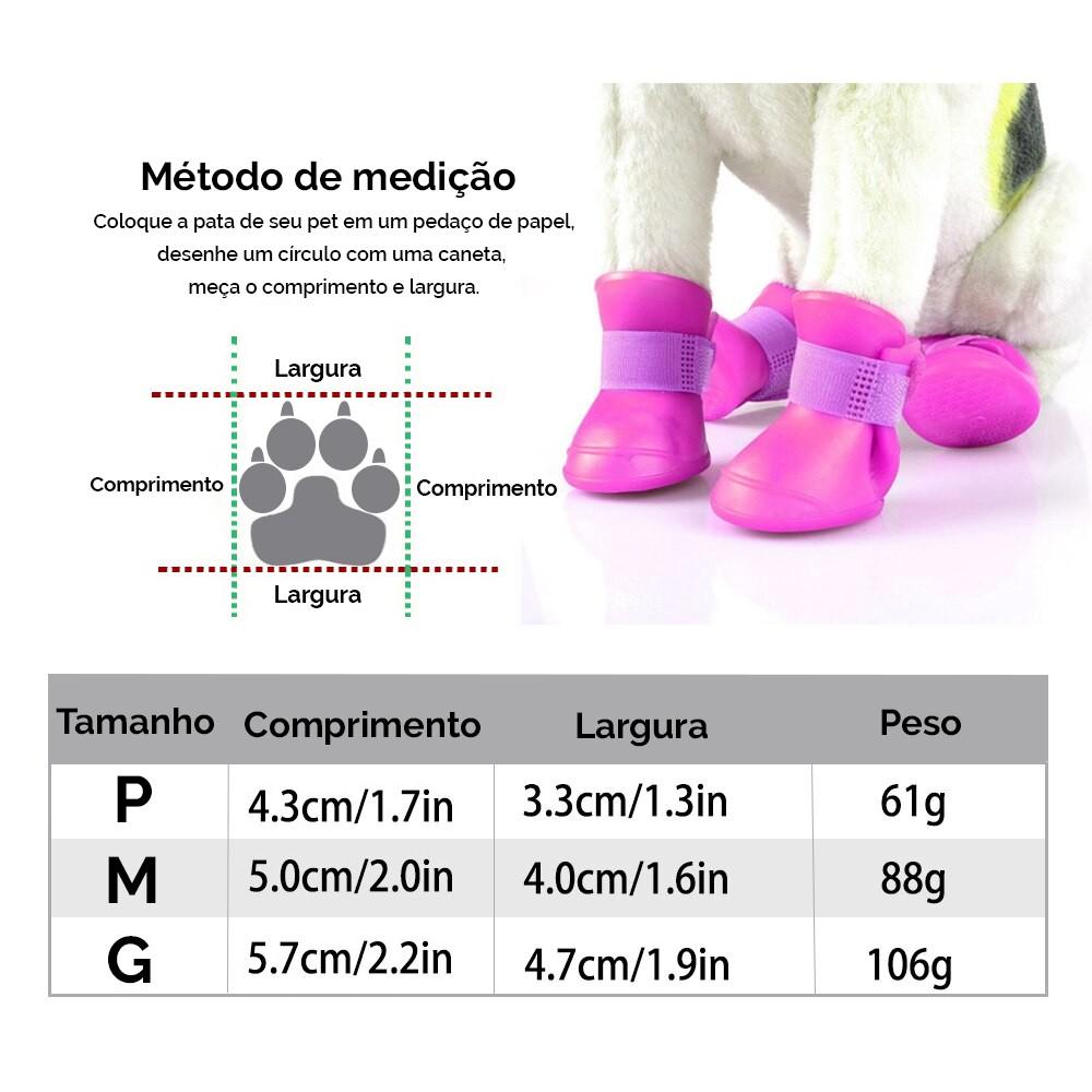 Botinha De Silicone Cães Gato Pet Sapatinho Tamanhos P M E G