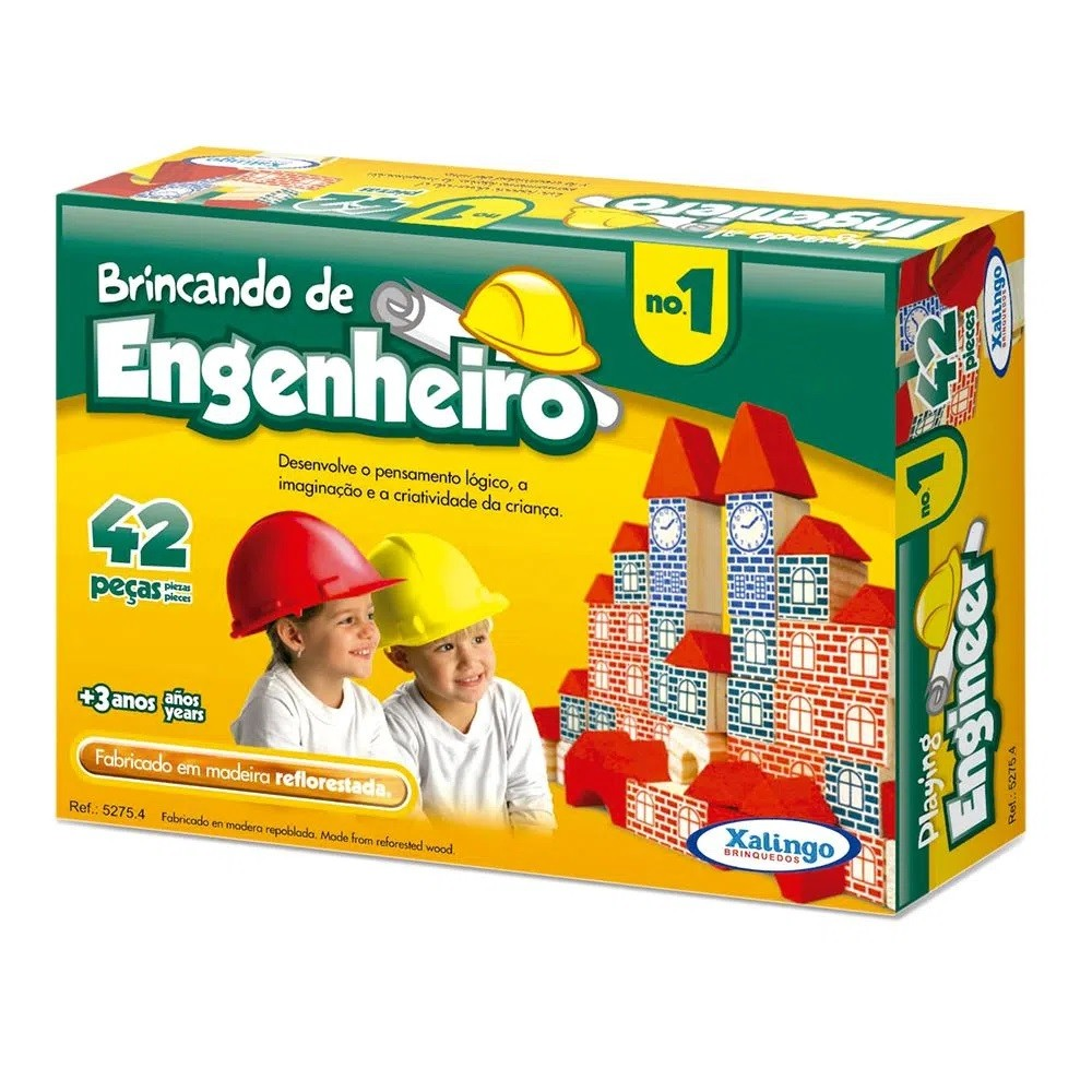Brinquedo Pedagógico Madeira Brincando Engenheiro 42 Peças