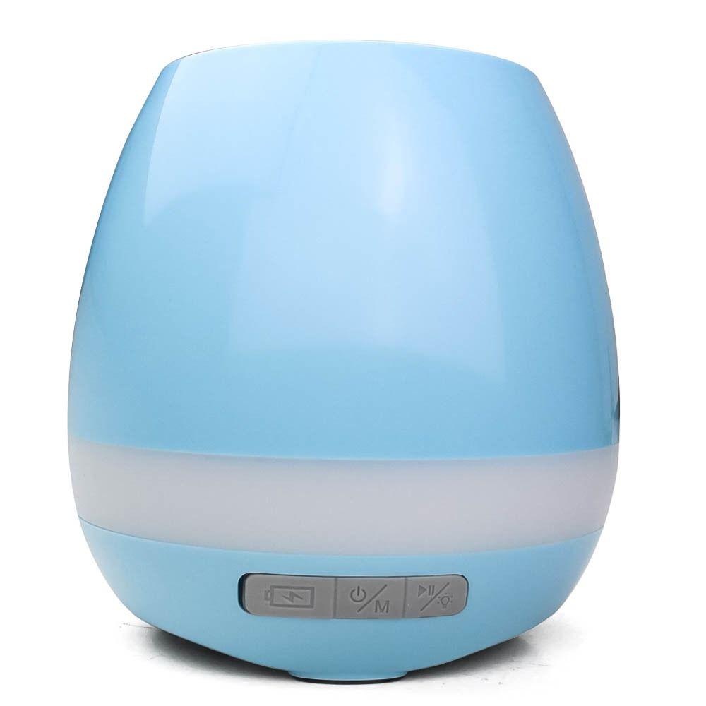 Caixa De Som Vaso De Planta Bluetooth Led Luminária Mp3 Abajur AZUL