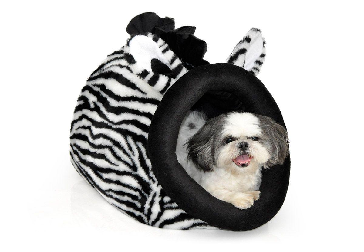 Caminha Toca Selvagem Para Cães Gatos Zebra Tamanho M
