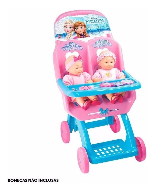 Carrinho De Bonecas Reborn Duplo Gemeos Frozen Princesas Disney Lider