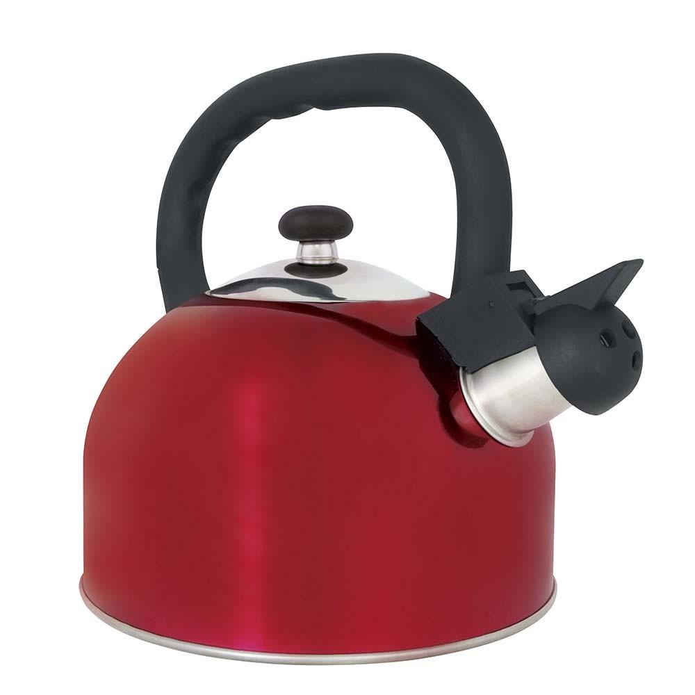 Chaleira Vermelha Aço Inox 2,5 Litros Mattina Com Apito Mor