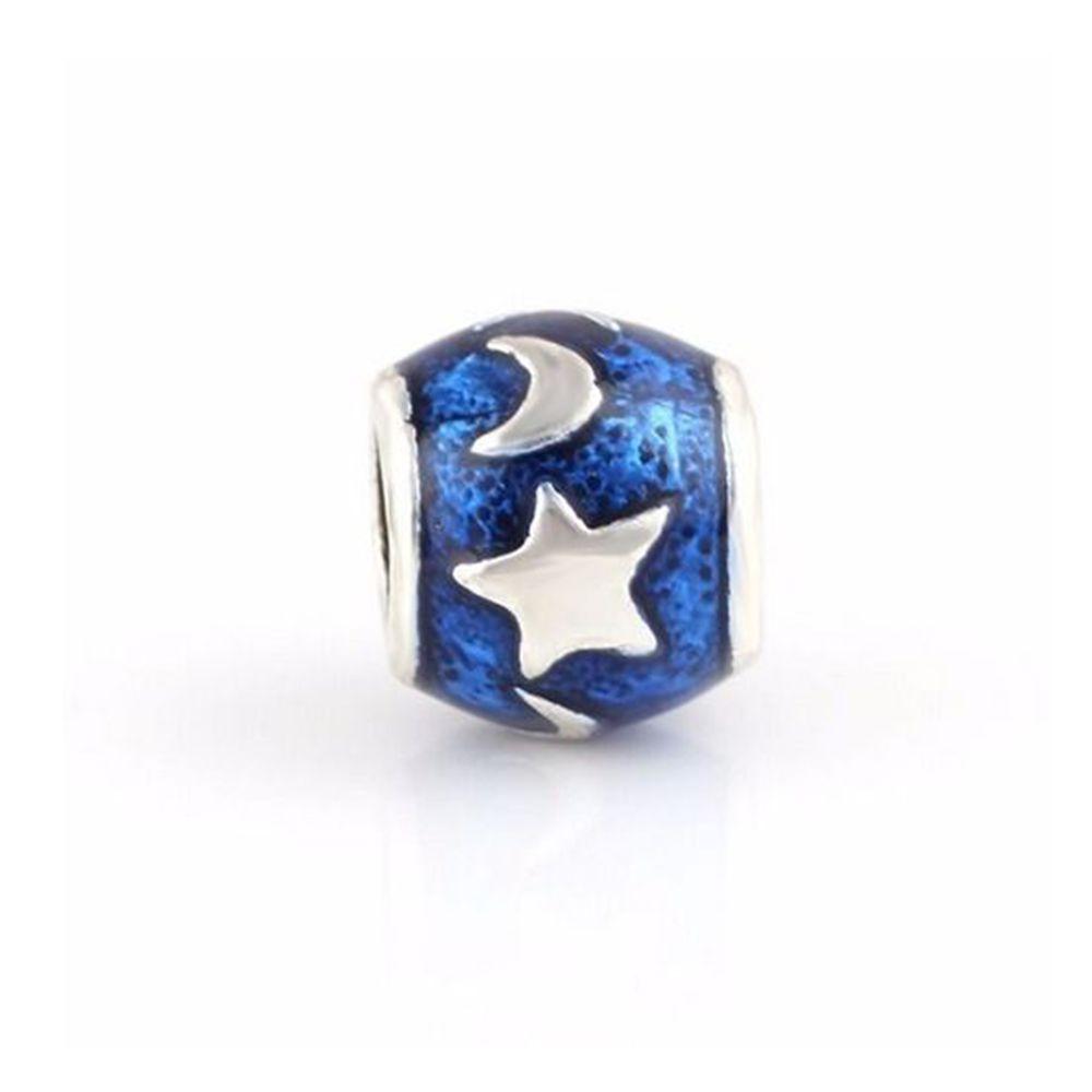 Charm Berloque Banhado Em Prata Lua Estrelas Azul