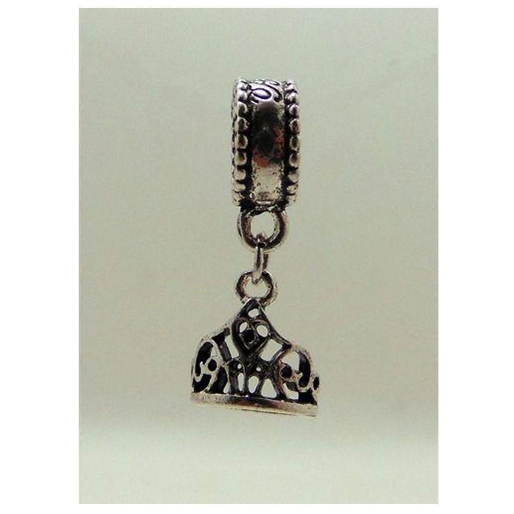Charm Berloque Pandora Banhado Em Prata Coroa Bela E A Fera