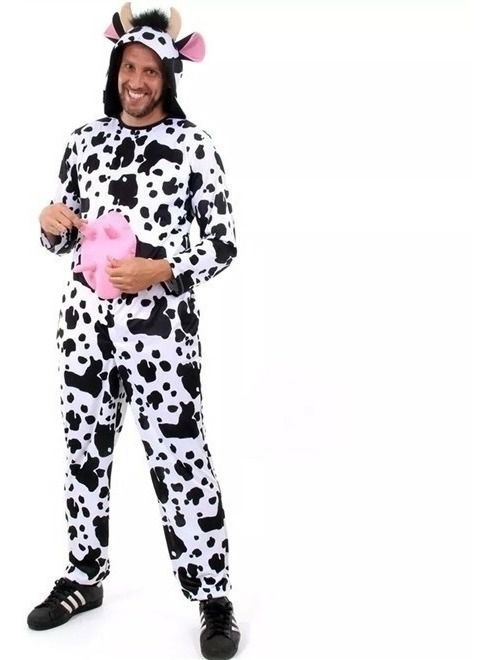 Fantasia Animais Da Fazenda Adulto Vaca Com Chifres E Tetas