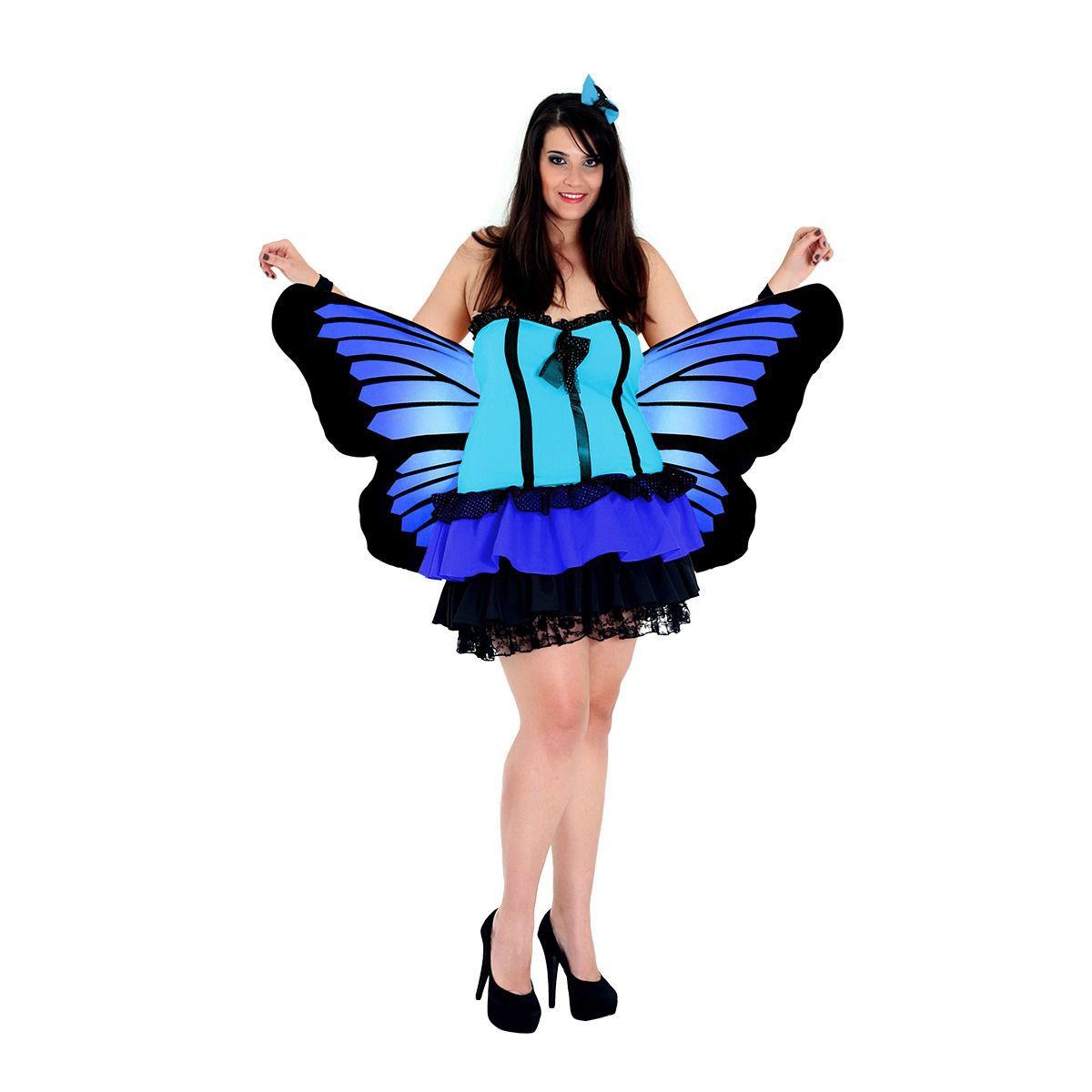 Fantasia Borboleta Azul Plus Size Adulto