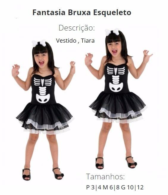 Fantasia Bruxa Esqueleto Infantil Luxo Halloween Teen