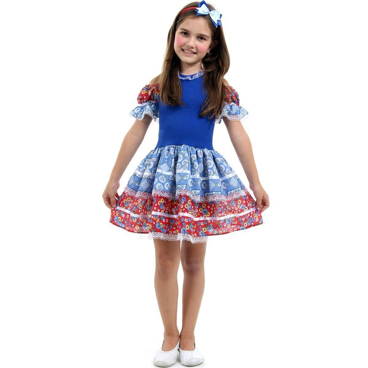 Fantasia Caipira Infantil C/ Tiara Caipira Ana Julia Sulamericana