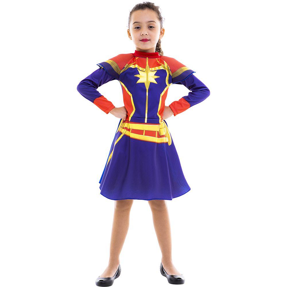 Fantasia Cosplay Capitã Marvel Infantil