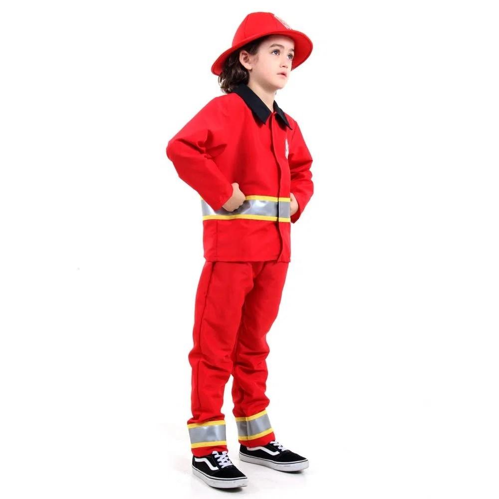 Fantasia De Bombeiro Infantil De Luxo Com Chapéu Profissões