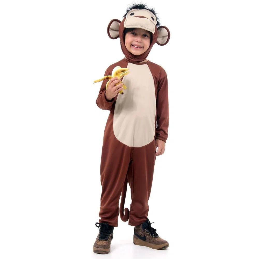 Fantasia De Macaco Infantil Animais Completa C/ Capuz