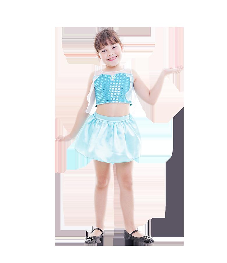 Fantasia Elsa Frozen Azul Carnaval Saia Cropped Menina