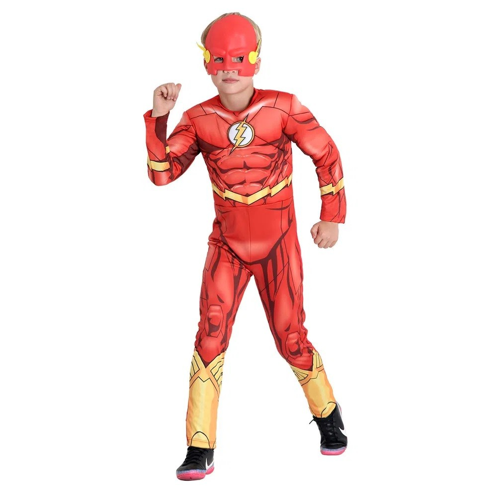 Fantasia Flash Infantil Premium C Músculo Máscara Original