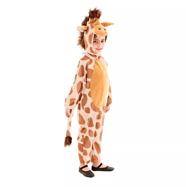 Fantasia Girafa Infantil Longo C/ Gorro Animais Da Floresta