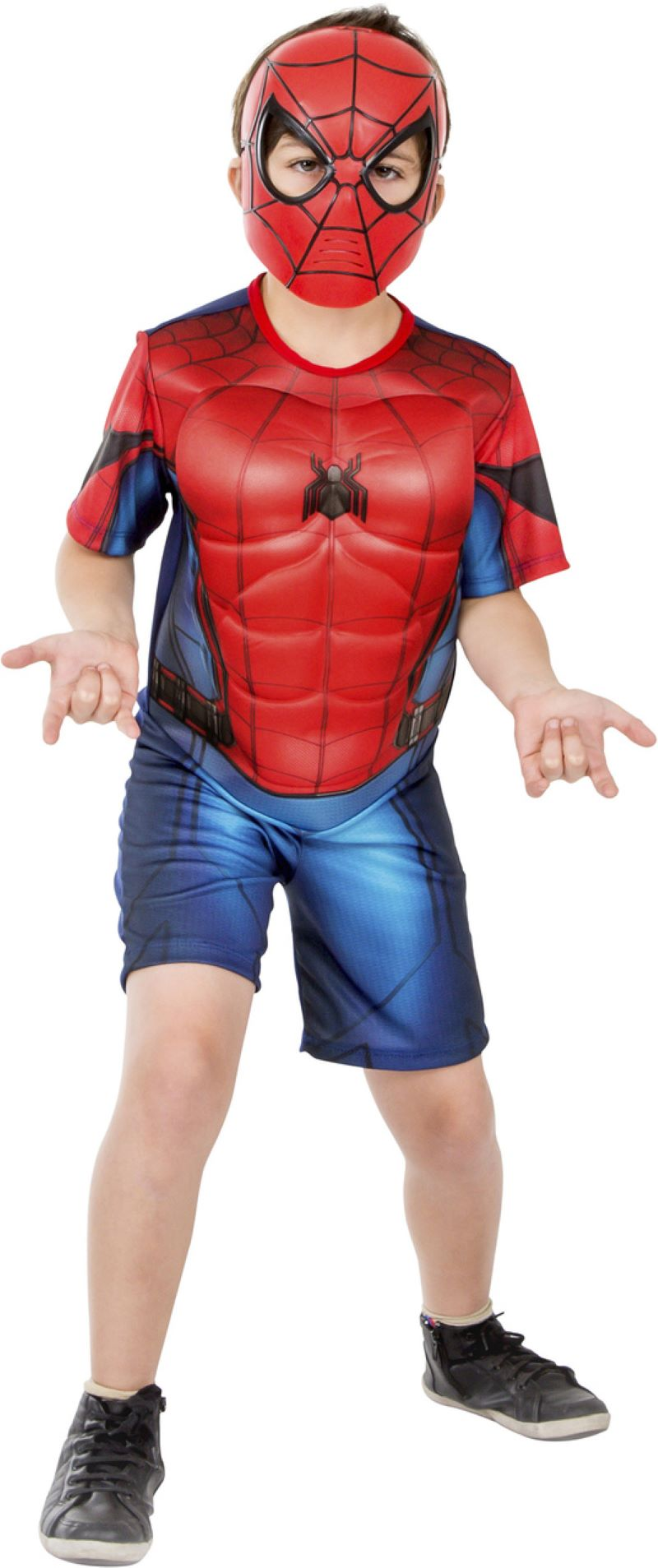 Fantasia Homem Aranha Curta Com Músculos Spiderman Infantil