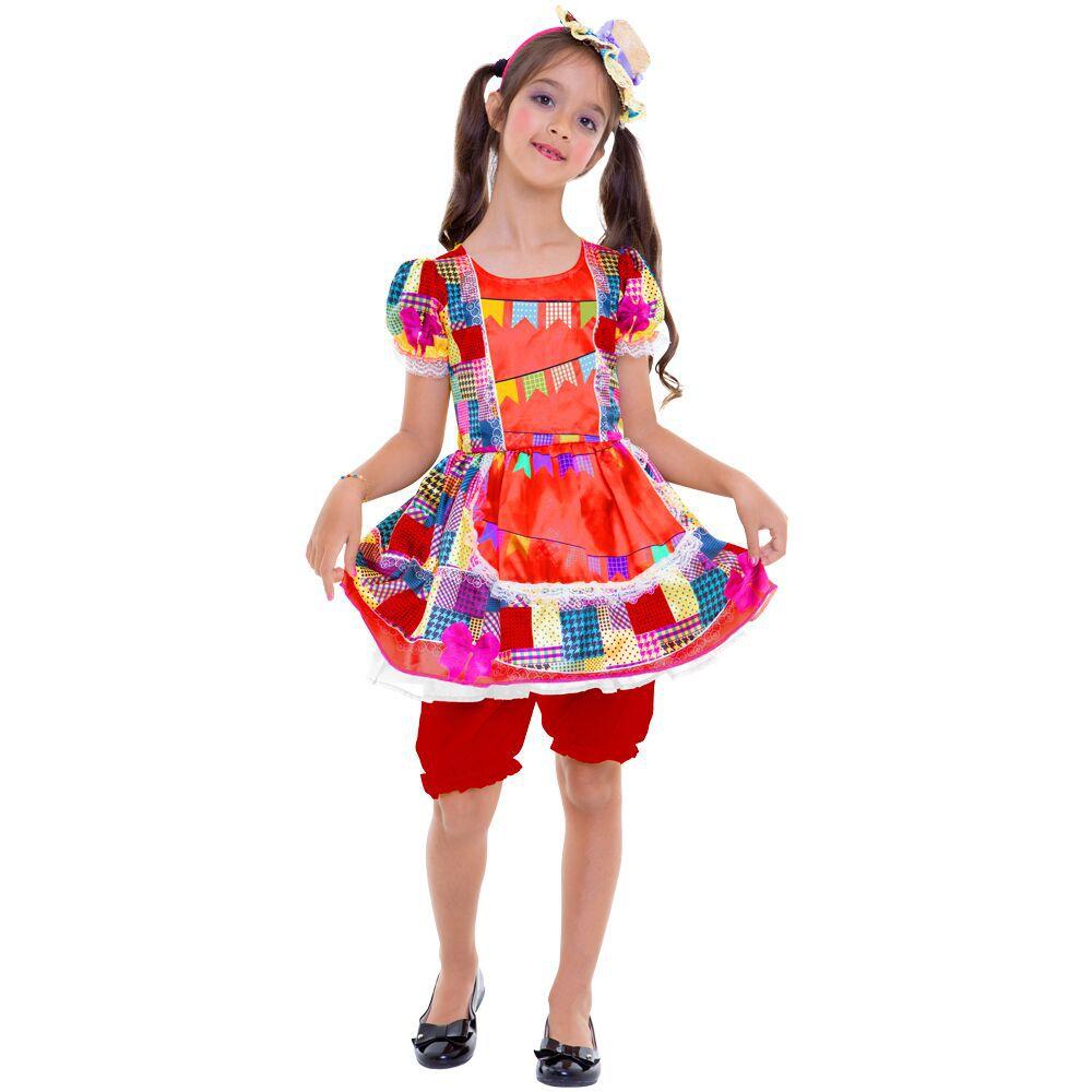 Fantasia Infantil Vestido Vermelho Festa Junina