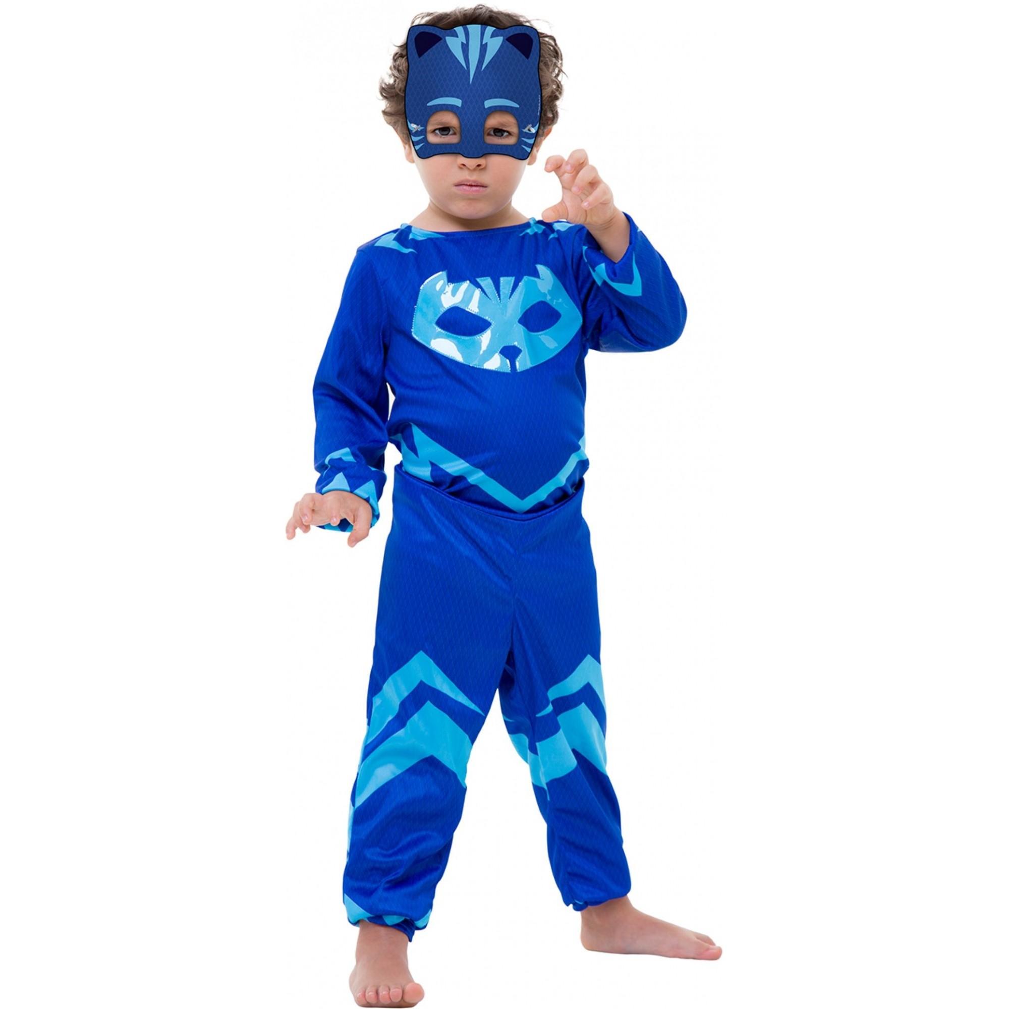 Fantasia Menino Gato Pj Masks Infantil Com Máscara Disney