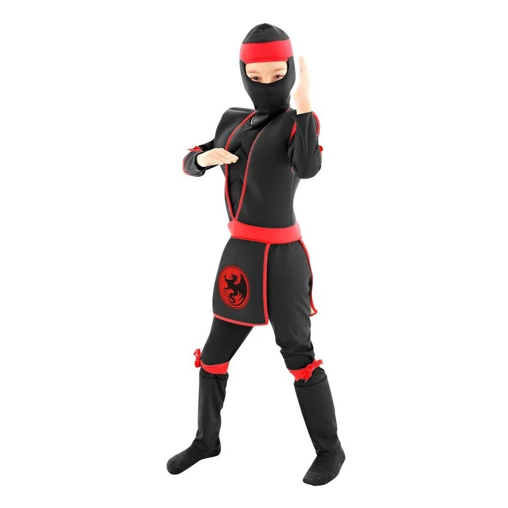 Fantasia Ninja Preto Infantil De Luxo C/ Músculo