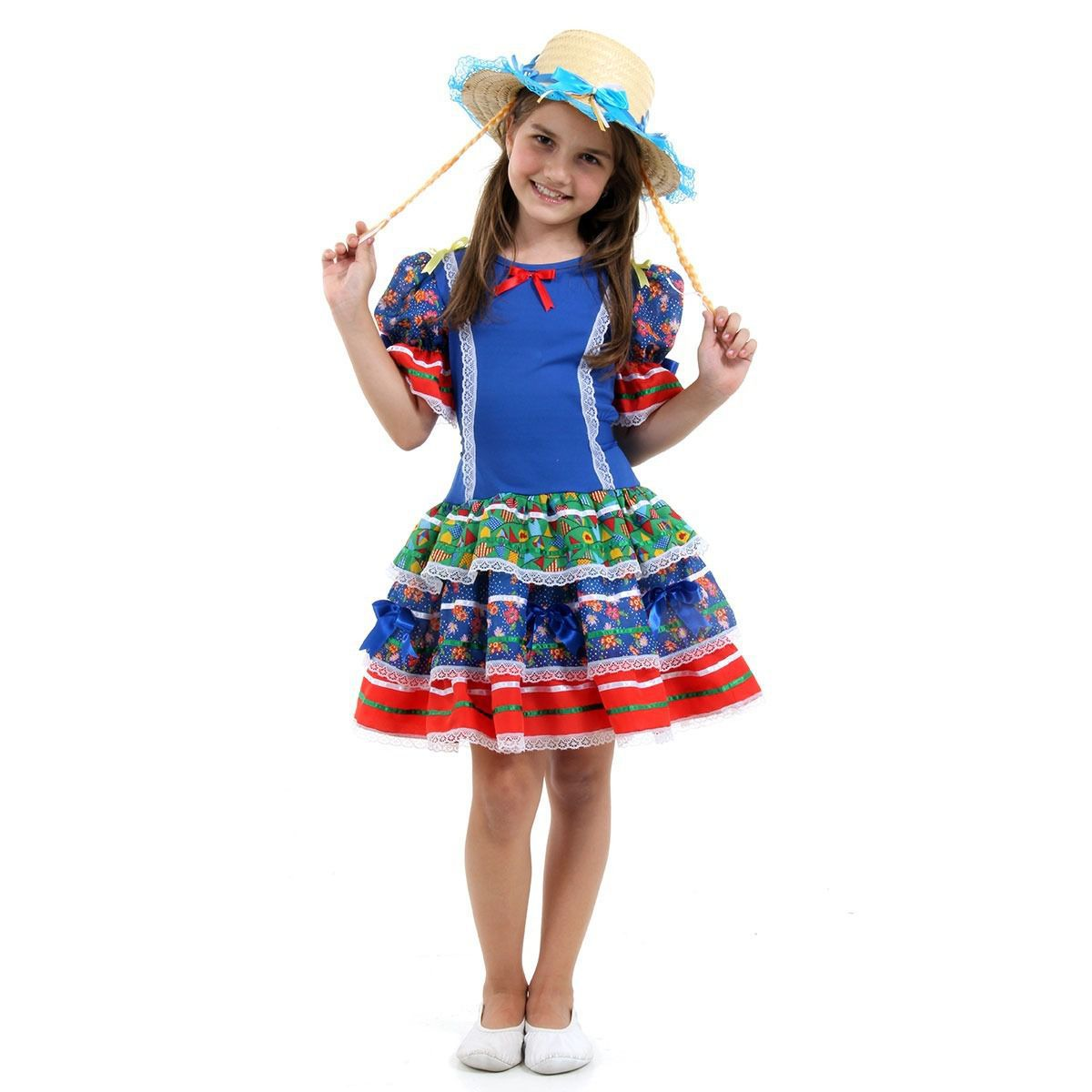Fantasia Vestido Festa Junina Caipirinha Infantil C/ Chapéu