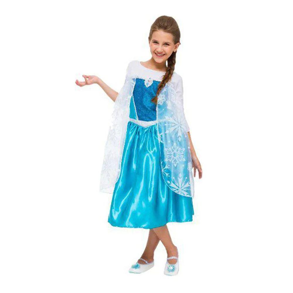 Fantasia Vestido Frozen Elsa Luxo Original Disney