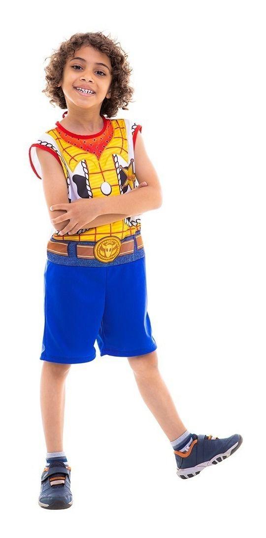 Fantasia Woody Regata Curta Cowboy Toystory Macacão Infantil