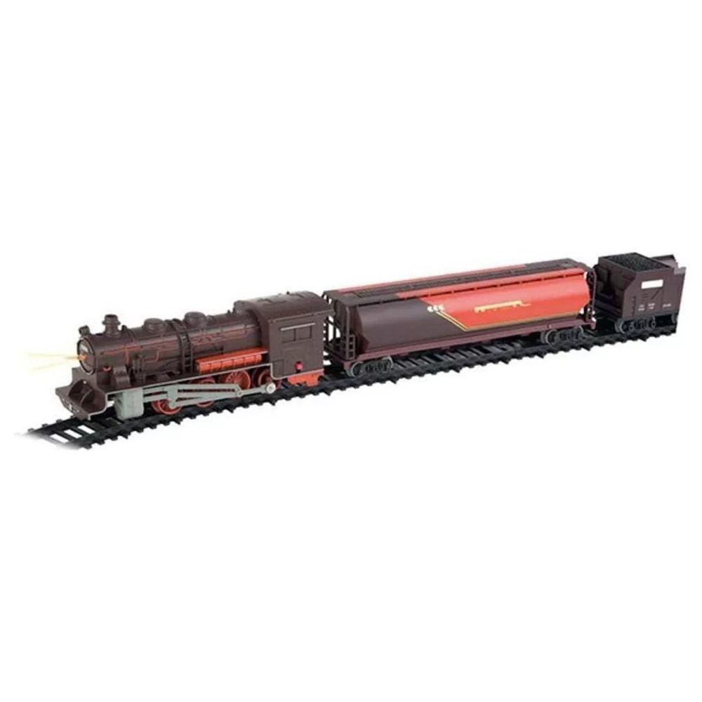 Ferrorama Super Locomotiva Com Farol E Luz 40 Peças Braskit