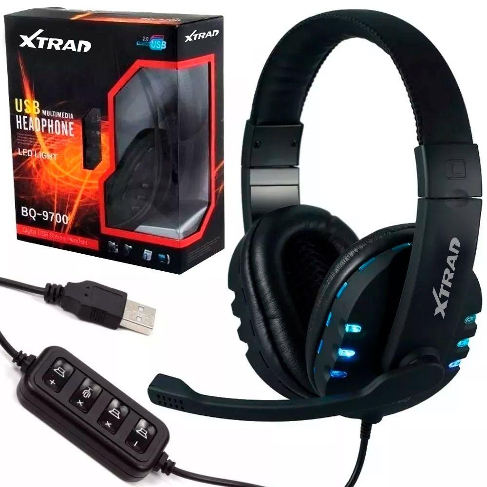 Fone De Ouvido Com Microfone Headset Led Usb Xtrad Bq-9700