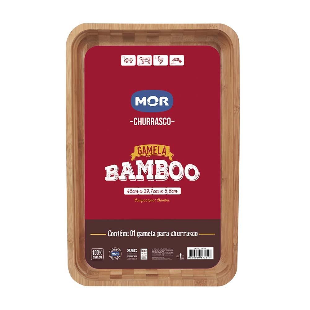 Gamela Retangular Churrasco 30x45cm Bamboo Mor 3361