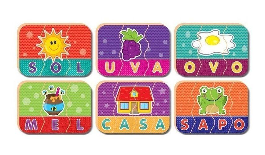 Jogo Pedagógico Soletrando Palavras Em Madeira 47 Peças Nig