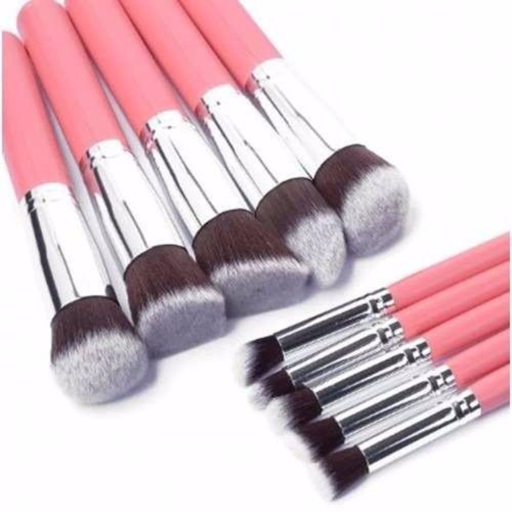 Kit 10 Pincéis Kabuki para Maquiagem Rosa Profissional - DUPL